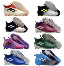Wholesale Blackout Soccer Cleats - 2018 original outdoor soccer cleats ace 17 PureControl FG cheap high ankle football boots mens soccer shoes blackout Laceless kids leather