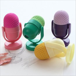Wholesale Pink Kids Microphone - Cute Kawaii Rubber Eraser Creative Microphone Erasers With Sharpener For Kids Gift School Supplies