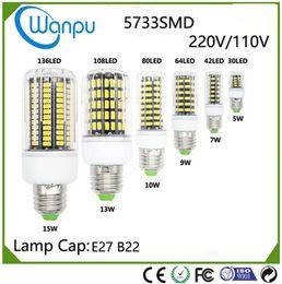 Wholesale E27 13w Energy Saving - E27 B225733 SMD More Bright 5730 5736 LED Corn Lamp 5W 7W 9W 10W 13W 15W Bulb Light 110V 220V Home Energy Saving Lights 30-136Led