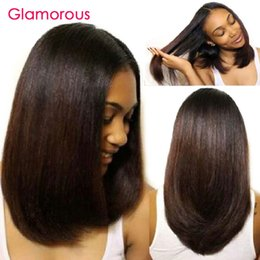 Wholesale Indian Remy Short Wigs - Glamorous Bob Style Virgin Brazilian Straight Hair Wig High Quality Malaysian Indian Peruvian Human Hair Lace Front Wigs   Full Lace Wigs