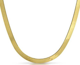 Wholesale Gold Herringbone Necklaces - 5mm Solid 10K Yellow Gold Herringbone Chain Necklace