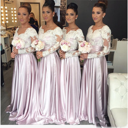 Wholesale gray lace bodice dresses - Sweetheart Appliques Long Elegant Arabic Maid of the Honor Dresses Light Purple Long Sleeves Lace Bodice Bridesmaid Dresses