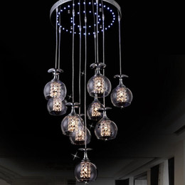 Wholesale Hanging Lamp Cord - Modern Clear Wine Glass Crystal Pendant Lamp K9 Crystal Living room Restaurant Chandelier Light Hanging Suspension Light with Blue Light