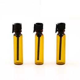 Wholesale Perfume Stopper - Hot Selling 1ml 1CC Brown color Mini Oil Essential Glass Vials Empty Perfume Dripper Bottles Plastic Stopper Refillable Bottle