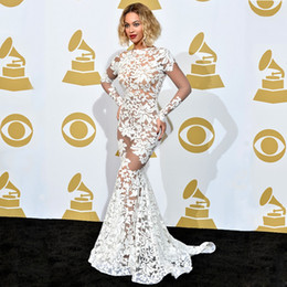 Wholesale Grammy Evening Gowns - Beyonce In Lace Applique Michael Costello Grammy Awards Red Carpet Celebrity Dresses Long Sleeve Sheer Evening Dresses Backless Prom Gowns