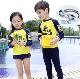 Wholesale Swimwear Girl Sunscreen - New summer Girls Boys Swimwear Swimsuit Kids clothing Sunscreen Swimming Suit Children Bathing Suit Quick drying