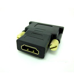 Wholesale Computer Dvi Hdmi - Gold Plated DVI Male to HDMI Female Converter Adapter Converter For HDTV Computer Cable box 100pcs up