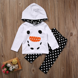 Wholesale Toddler Ruffle Pants Wholesale - Boys Girls Snowman 2PCS Set Christmas Kids Toddler Ruffle Polka Dot Outfits Hooded Tops+Pants Wholesale Kid Clothes 6M-5Y Boy Girl Clothing