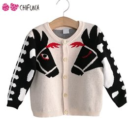 Wholesale Kids Spring Horses - Kids Sweater Outwear Cute Horse Children's Cardigan Autumn Winter Knit Wear 2017 New Fashion Boys Girls Coat