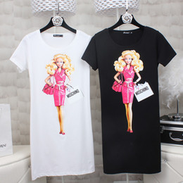 Wholesale New Bodycon Dresses - High Quality 2017 New Fashion Women European style spring barbie doll print T-Shirt short sleeve o-neck t-shirt dress casual cotton women to