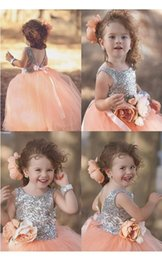 Wholesale Peach Tulle Wedding Dresses - Cute Silver Sequins Peach Puffy Tulle Flower Gilrs Dresses 2017 Cheap Backless Wasit With Flower First Communion Dresses