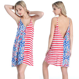 Wholesale Women American Flag Dress - Sexy Backless Deep V Casual Dress US Flag Skirt American Independence Day Beach For Vacation Dresses For Women Red White Blue Free Shipping