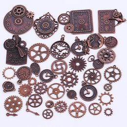 Wholesale Wholesalers For Vintage Clocks - Wholesale- Vintage Metal Mixed Steampunk Clock & Gear Charms for Jewelry Making Diy Zinc Alloy Clock Gear Pendant Charms 40pcs lot C8914