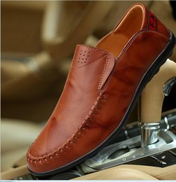 Wholesale Comfy Shoe Brands - Big Size 36~ 47 High Quality Genuine Leather Men Shoes Soft Moccasins Loafers Fashion Brand Men Flats Comfy Driving Shoes