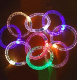 Wholesale Disco Party Supplies Wholesale - LED bracelet light up flashing Glowing bracelet Blinking Crystal bracelet Party Disco Christmas Party Supplies Light Up Wristband KKA2384