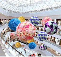 Wholesale Wholesale Chocolate Kiss - 16 Color Artificial Flowers Rose Balls Kissing Ball Decorate Flower Wedding Party Garde10n Market Party Decoration Christmas Gift XL-253