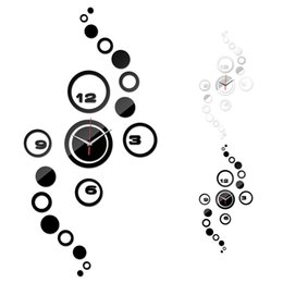 Wholesale Wall Stickers Design Patterns - Wholesale-Home Livingroom Wall Clock 3D DIY Circle Pattern Stickers Hour Modern Mirror Design Art Watches