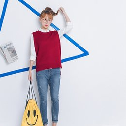 Wholesale Knitted Sweater Vest Korean - Wholesale-pullover women sweaters 2016 korean style new winter women sweaters kawaii cute vest split knitted sweaters women harajuku