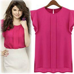Wholesale womens loose blouses - Womens Casual Loose Chiffon Short Tulip Sleeve Blouse Shirt Tops New Fashion Plus Size Womens Chiffon Flouncing Short Sleeve Shirt Blouse