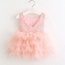 Wholesale Dress Clothes Korea - Children clothing Party Tutu lace dresses Beaded 2017 Summer Korea Back V-neck layers cute dress Children Botique clothing Fashion 2-7year