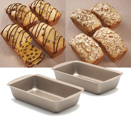 Wholesale Small Ceramic Fruit - Wholesale- 4 pieces lot, 5inch toast bread baking pan ,non-stick small fruit cake mold, champagne gold baking mold free shipping