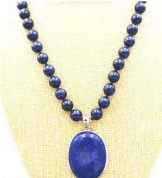 """Wholesale Gemstones Beads China - 6MM blue Lapis Lazuli Gemstones Beads Necklace 18"""" & 18x28mm"""