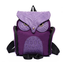 Wholesale Owl Women Bag - Wholesale- Newest X Feeling Fashion Cute Owl Backpack Women Cartoon School Bags For Teenagers Girls Nylon Women Backpack
