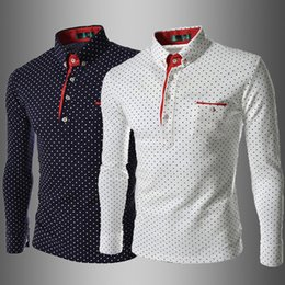 long sleeve polo style shirts Coupons - Men Polo T Shirt Fashion Lapel Polka Dot Print Leisure Slim Long sleeves England Style T shirts