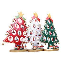 Wholesale Wooden Christmas Ornaments Wholesale - 1PC DIY Cartoon Wooden Christmas Tree Decoration Christmas Gift Ornament Table Desk Decoration 3 Colors Red White Green 0708063