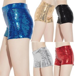 Wholesale Lace Booty Shorts - Women Sequins Shorts Elastic Booty Short Pants with High Waist Silver Black Gold Red DS hip hop jazz Sparke Shorts Outfit