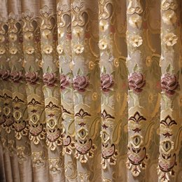 Wholesale Curtain Lace Wholesale - Luxury Drapes Living Room Curtains Lace Trimmed Valance Curtain Embroidered Beaded Embossed Rilievo Embroidery Elegant Room Curtain #Cloth