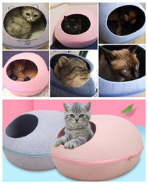 Wholesale Pets Oval - Egg Style Pet cat warm dog puppy Bed hand-Felt Natural Cat Litter Kennel Detachable Easy To Carry & Clean with heating style