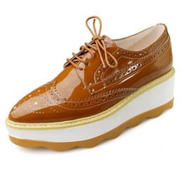 Wholesale Thick Sole Platform Shoes - 6 cm Thick soles Shoes women Plus size 33-42 High platform shoes Lace-up Brogue shoe for party White Autumn flats school shoe WL-W61