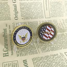 accessori da giardino fiabeschi miniatura all'ingrosso Sconti 10pcs / lot USN Honour Courage Impegno veterano collettivo ventilatori militari regalo d'oro color metallo sfida moneta