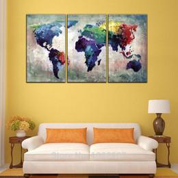 mapas do mundo emoldurados Desconto 3 Panles Mapa de Cor Abstrato Pinturas Da Lona Mapa Do Mundo Fotos Imprime Na Arte Da Parede Da Lona Para A Decoração Home (moldado de madeira)