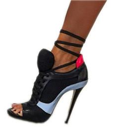 Wholesale Wedding Shoes Punks - Roman Sport Sandals Women Mesh Net Shoes Gauze Open Toe Pumps Lace Up Ankle Strap High Heel Stilettos Hippie Punk Shoes