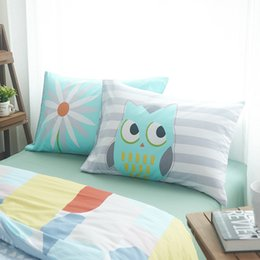 Wholesale Pillow Case Pair - Wholesale- 100% Cotton Flower And Owl Pillow Case 2Pcs Home One Pair Diagonal Printing Brief Style Pillow shams 48x74cm