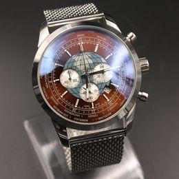 Wholesale Globe Brand - 2017 Luxury Brand watch men Top AAA Orange Globe Stainless Steel Editon Special 1884 quartz chronograph watches sapphire mens watches