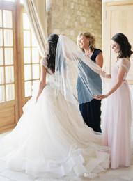 Vestido de noiva com renda removível com renda on-line-Nova Organza Fada Vestidos de Casamento A Linha Alça Removível Igreja Formal Em Camadas de Saia Lace boêmio Sheer Neck Ball Vestido De Noiva sem encosto