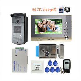 "Wholesale Door Video Electric Lock - 7"" Color Record Screen Video Intercom Door Phone Kit + RFID Access Doorbell Camera + 8G SD Electric lock Free Shipping"