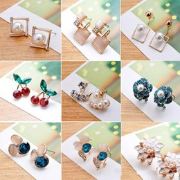 Wholesale Earring Korean Mix - 2017 new Mixed design wedding earrings Korean geometry crystal earrings fashion opal women earrings free shipping