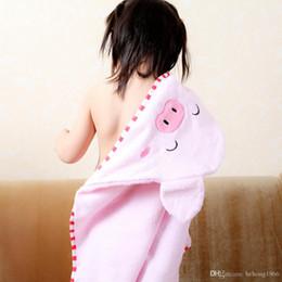 Wholesale Hooded Towel Kids Bathrobes - Bath Towel Baby Cloak Pig And Bear Pattern Plush Cotton Absorbent Water Kid Hooded Bathrobe With Cartoon Hat 23lb F R