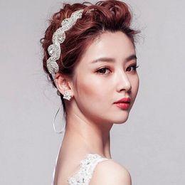 Wholesale Tin Ribbons Flowers - New Wedding Jewelry Hairwear White Ribbon Rhinestone Flower Pattern Hairband Women Fashion Hair Accessories
