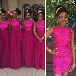 Wholesale Tulle Skirt Long Bridesmaid - Fuschia Sequin Formal Bridesmaid Dresses 2018 With Removable Skirt Long Tulle Wedding Party Guest Dresses Nigerian African Style Plus