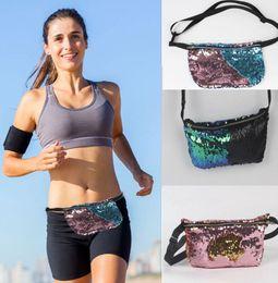 Wholesale Double Shoulder Waist - Double Sequins Bag Shoulder Sequins Belt Bum Bag Pouch Purse Outdoor Sports Jogging Running Waist Bag Backpacks KKA1284