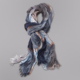 Wholesale Wrinkle Long Scarf - Wholesale- Fall Fashion Winter Cotton Long Neck Warm Scarves Stripe Wrinkled Cotton Scarf Clothing Accessories