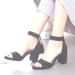 Wholesale Summer Sandals Short Heels - summer Europe and America new style dermal thin and short high heel peep-toe female beautiful sandals