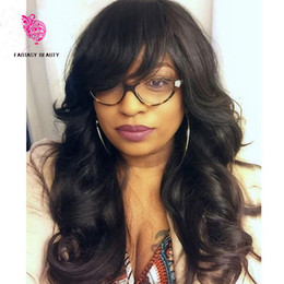 Wholesale Natural Hair Wigs Bangs - 150 Density Unprocessed Virgin Peruvian Body Wavy Full Lace Wigs Glueless Human Hair Lace Front Wig with Bangs Baby Hair