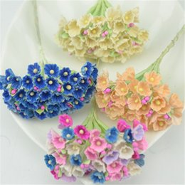Wholesale Cheap Blue Flower Wedding Bouquets - Wholesale-8pcs 40heads 1CM Mini Paper Rose Flowers Bouquet Family Wedding Decoration For DIY Scrapbooking Flowers Paper Cheap Flowers