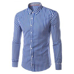 Wholesale office fashion wear - Wholesale- 2017 New Fashion Hemiks Men's Classic Slim Fit Vertical Striped Long sleeve Dress Shirt Best for Office and Street Wear